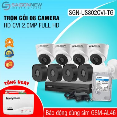 Trọn gói 8 Camera HD CVI 2.0MP Full HD