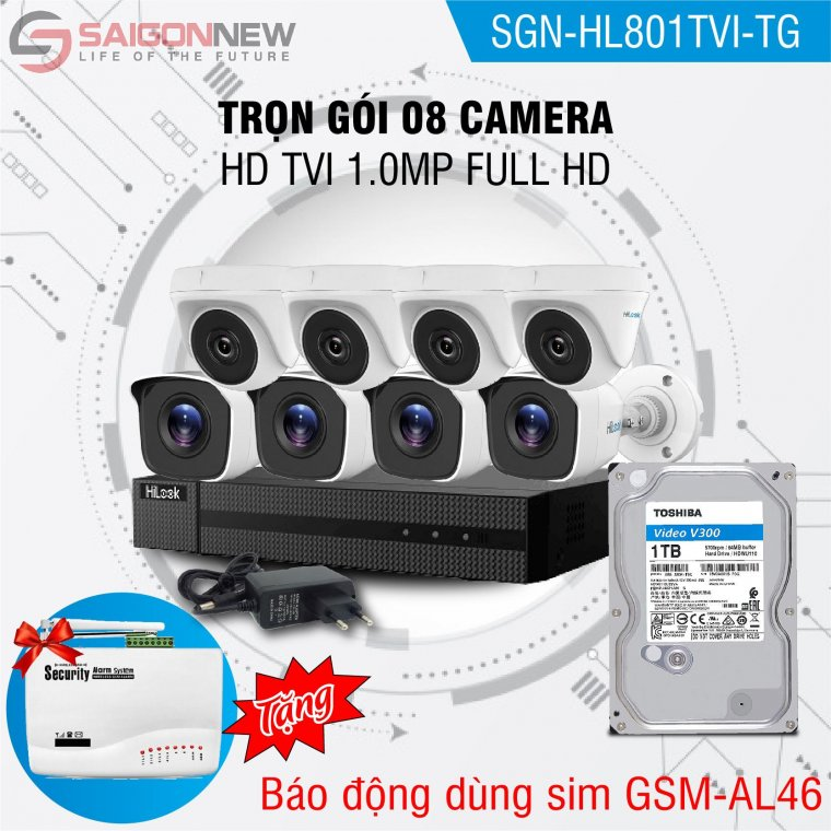 Trọn gói 8 Camera HD TVI 1.0MP Full HD