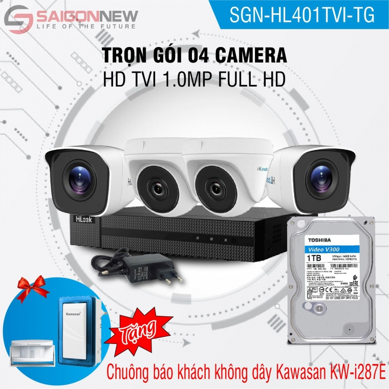 Trọn gói 4 Camera HD TVI 1.0MP Full HD